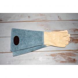 Guantes largos de cuero y piel vuelta en color beige y azul  talla 7,5