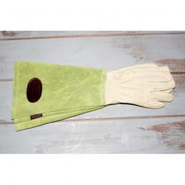 Guantes largos de cuero y piel vuelta en color verde y beige   talla 7,5